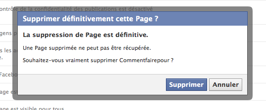 Confirmation supprimer page Facebook