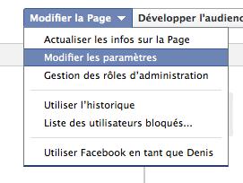 Modifier les paramètres Facebook